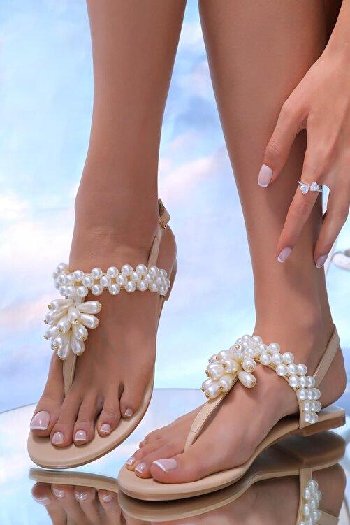 Oblavion Kadın Bej Hakiki Deri Inci Günlük Taşlı Sandalet 2