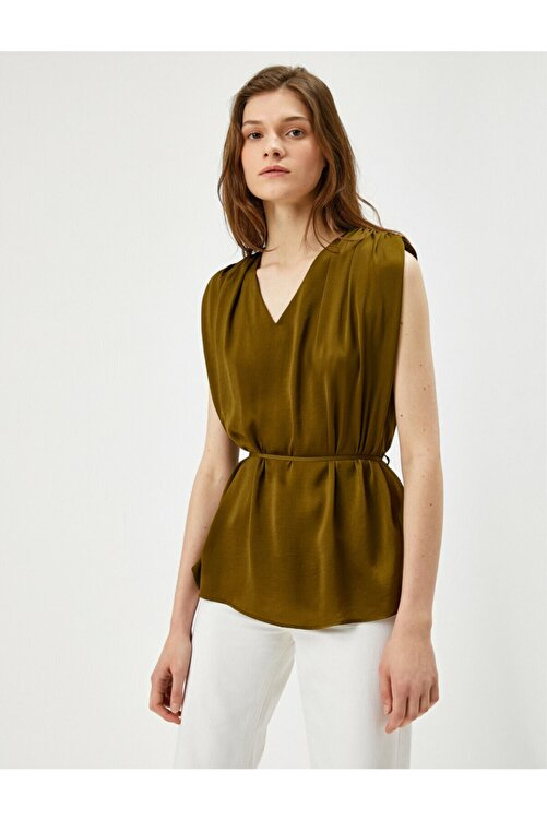 Koton Kadın Yeşil Belden Baglamali Bluz 1