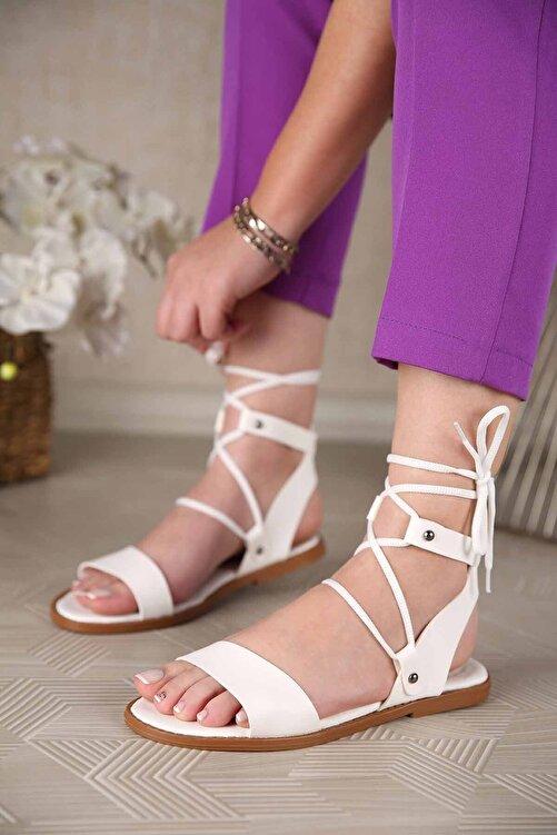 Ccway Kadın Bağlamalı Sandalet Beyaz 1