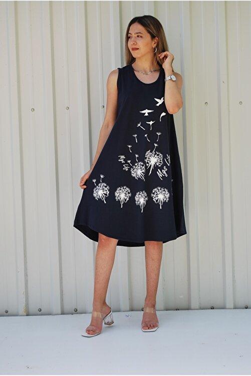 MGS LİFE Kadın Kolsuz Kuş Baskılı Büyük Beden Elbise 1