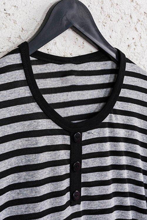 Line Smart Kadın Siyah Çizgili Pamuklu Düğmeli Bluz 2