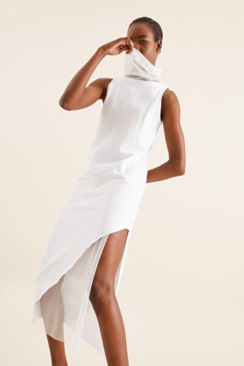 Quincey Kadın Beyaz Tül Detay Tunik Elbise 2