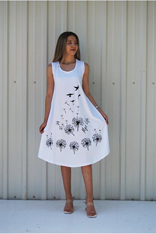 MGS LİFE Kadın Beyaz Kolsuz Kuş Baskılı Büyük Beden Elbise 2