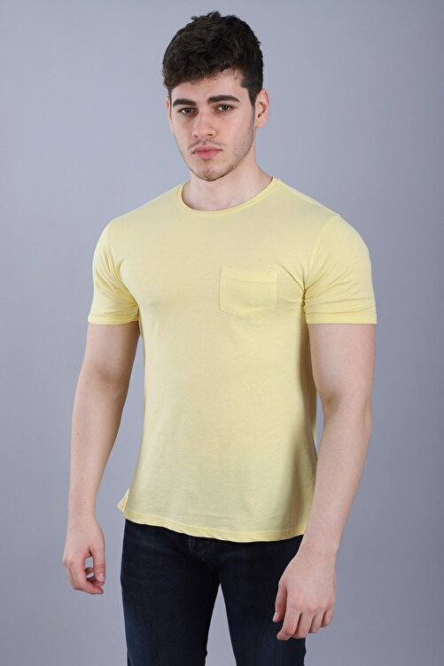 Arlin Erkek Bisiklet Yaka Cepli Kısa Kollu Slim Fit Sarı T-shirt 1