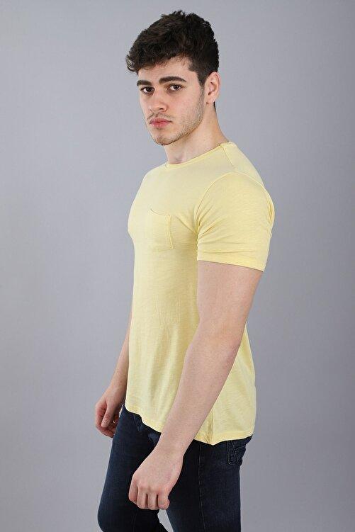 Arlin Erkek Bisiklet Yaka Cepli Kısa Kollu Slim Fit Sarı T-shirt 2