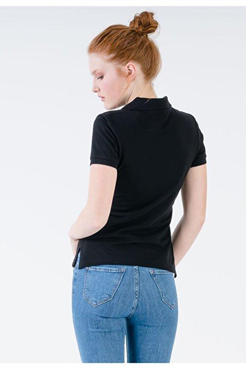 JAHR MARC Kadın Siyah Slim Fit Polo Yaka Yırtmaç Detaylı T-shirt 2