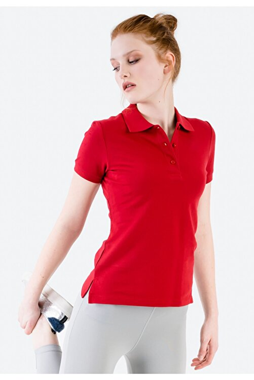 JAHR MARC Kadın Kırmızı Polo Yaka Yırtmaç Detaylı T-shirt 1