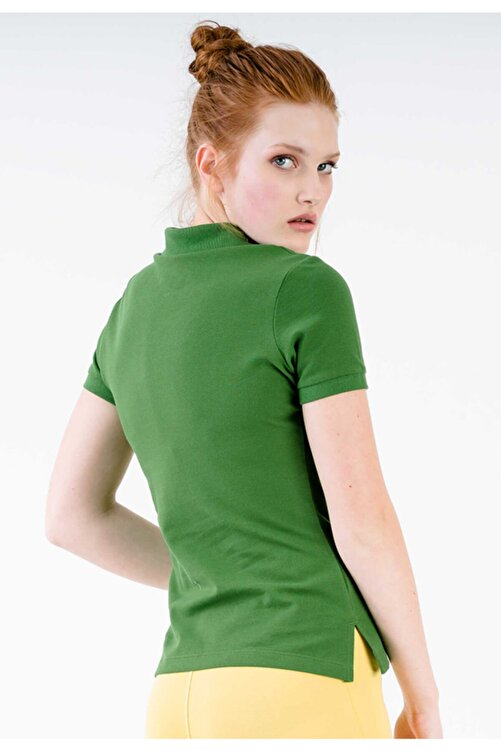 JAHR MARC Yeşil Polo Yaka Yanları Yırtmaç Detaylı T-shirt 2