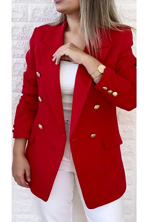 SEDA FİDAN Gold Düğmeli Blazer Ceket Kırmızı 2