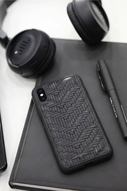 GUARD Örgü Baskılı Siyah Deri Iphone X / Xs Kılıfı 1