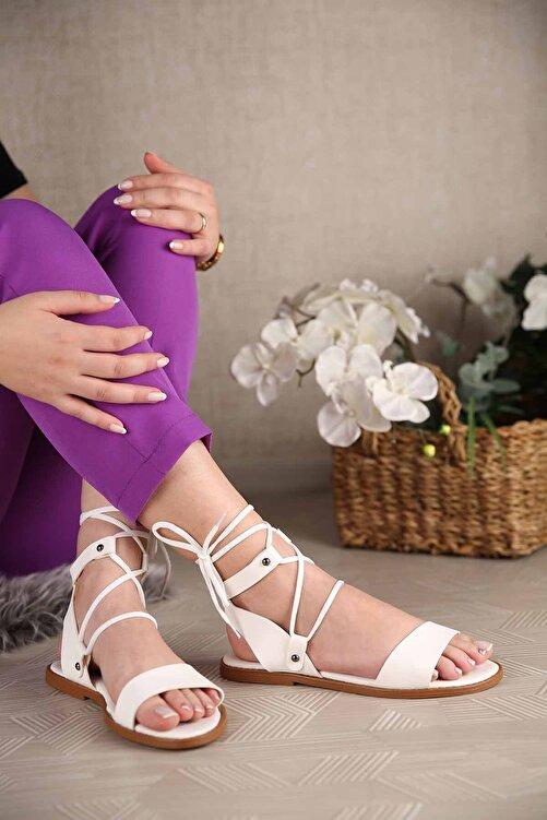 Ccway Kadın Bağlamalı Sandalet Beyaz 2