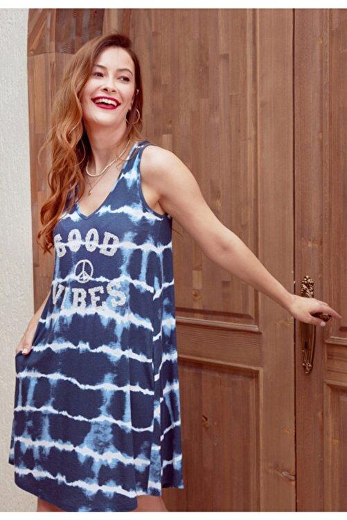MYSUMMERBLUE Kadın Lacivert Batik Desenli Payetli Kolsuz Elbise 1