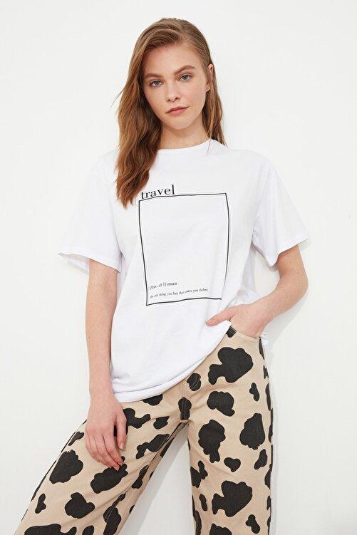 TRENDYOLMİLLA Beyaz Baskılı Boyfriend Örme T-Shirt TWOSS20TS0755 2