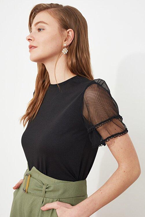 TRENDYOLMİLLA Siyah Kolları Tül ve Volan Detaylı Örme Bluz TWOSS20BZ0720 2
