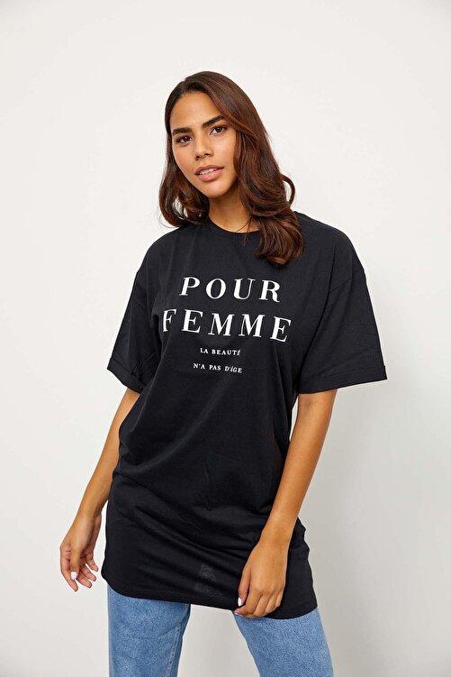Setre Kadın Siyah Kısa Kol Bisiklet Yaka T-shirt 1
