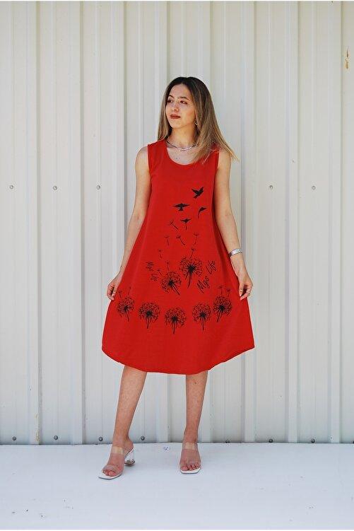 MGS LİFE Kadın Kırmızı Kolsuz Kuş Baskılı Büyük Beden Elbise 2