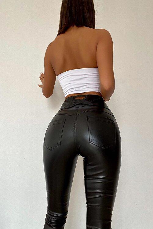 Fashiontayt Kadın Siyah Deri Pantolon 2