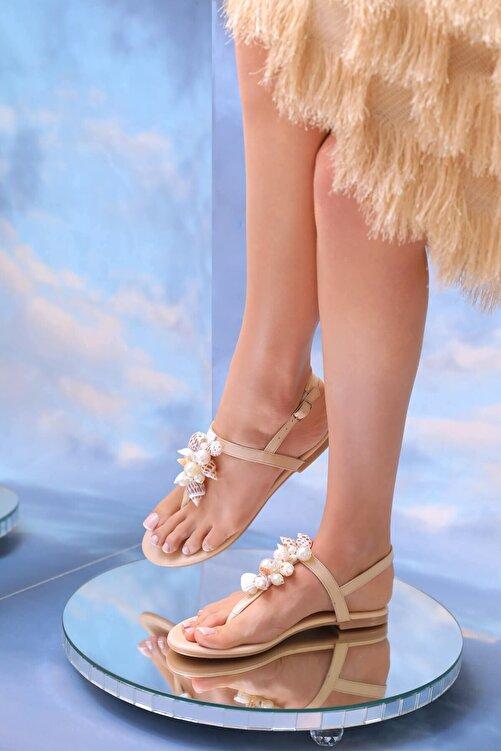 Oblavion Kadın Bej Hakiki Deri Günlük Taşlı Sandalet 2