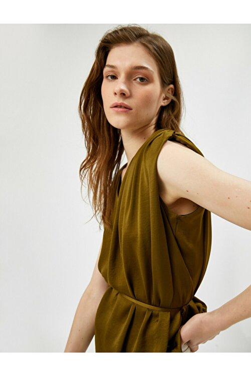 Koton Kadın Yeşil Belden Baglamali Bluz 2