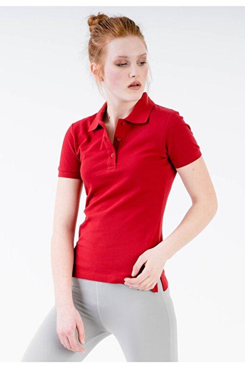 JAHR MARC Kadın Kırmızı Polo Yaka Yırtmaç Detaylı T-shirt 2