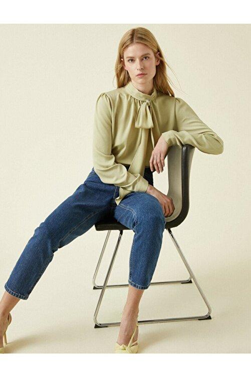 Koton Kadın Yeşil Fular Yaka Uzun Kollu Bluz 1