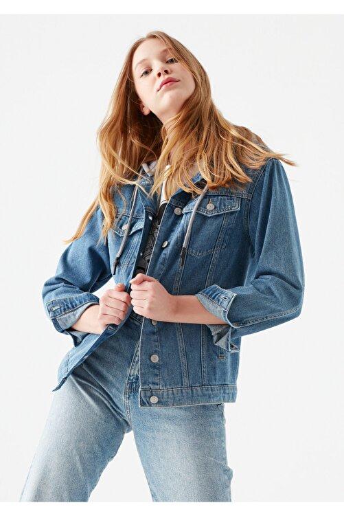 Mavi Kadın Karla Kapüşonlu Jean Ceket 110154-29899 2
