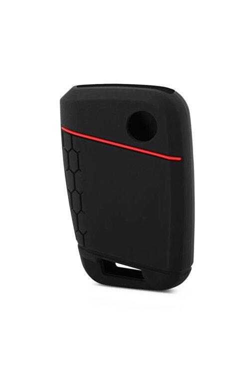 YıldızTuning Passat B8.5 Silikon Anahtar Kılıfı Kırmızı Çizgili Kılıf Anahtar 1