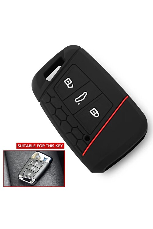 YıldızTuning Passat B8.5 Silikon Anahtar Kılıfı Kırmızı Çizgili Kılıf Anahtar 2
