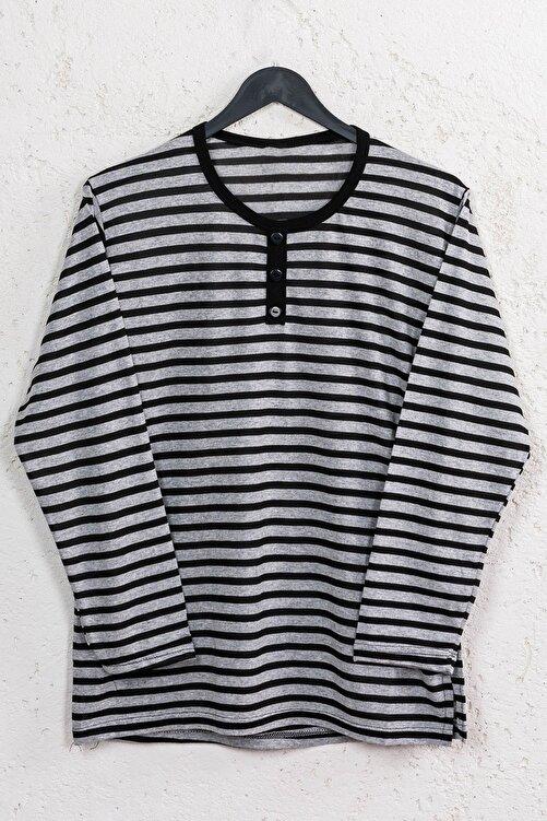 Line Smart Kadın Siyah Çizgili Pamuklu Düğmeli Bluz 1