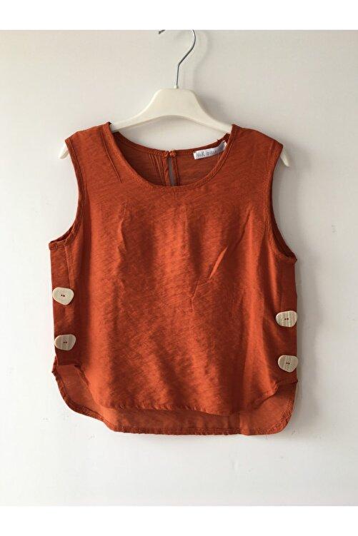 nk kids Kız Çocuk Kremit Renkli Sıfır Kollu Bluz 1