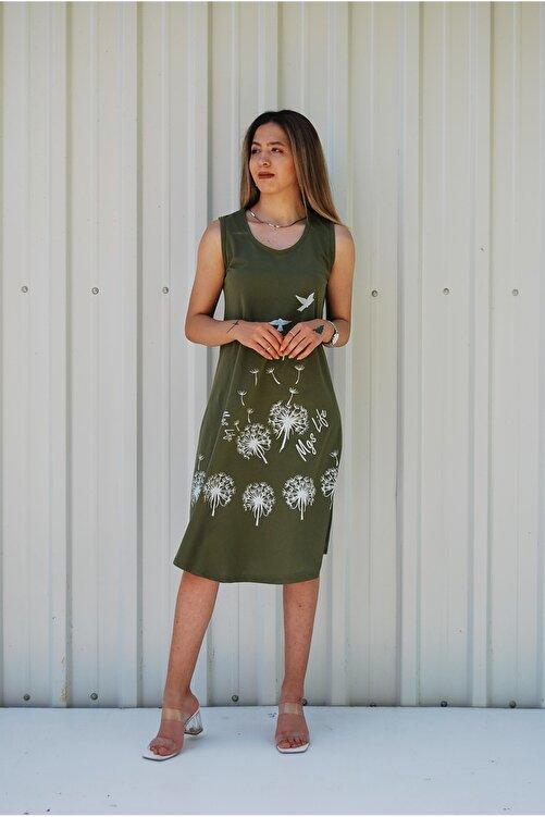 MGS LİFE Kadın Haki Kolsuz Kuş Baskılı Büyük Beden Elbise 1