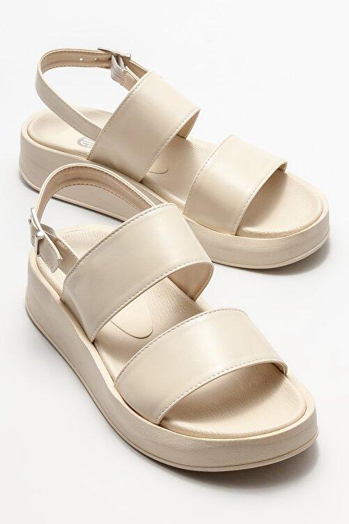 Elle Shoes Kadın Bej Dolgu Topuklu Sandalet 2