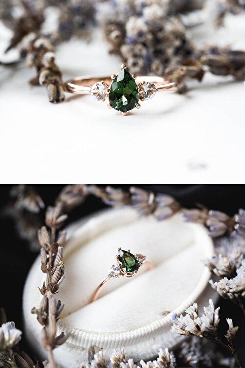 LOTUS GÜMÜŞ Mistik Topaz Yeşil Taşlı Ayarlanabilir Kadın Rose Altın Kaplama Yüzük 1