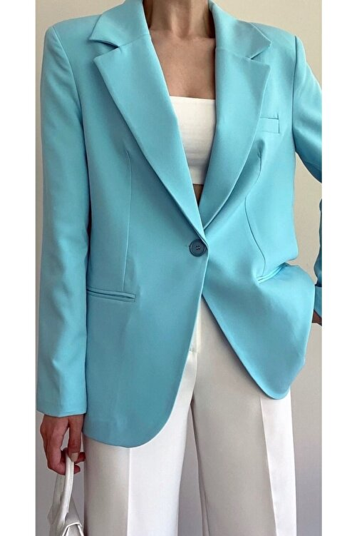 The Ness Collection Mavi Tek Düğmeli Boyfriend Blazer 1