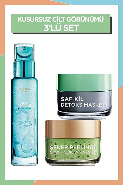 L'Oreal Paris Nem Terapisi + Saf Kil Detoks Maskesi + Şeker Peeling Siyah Nokta Karşıtı 36005234248943 1