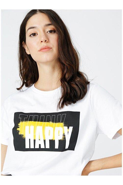Fabrika Kadın Beyaz Baskılı Tişört 1