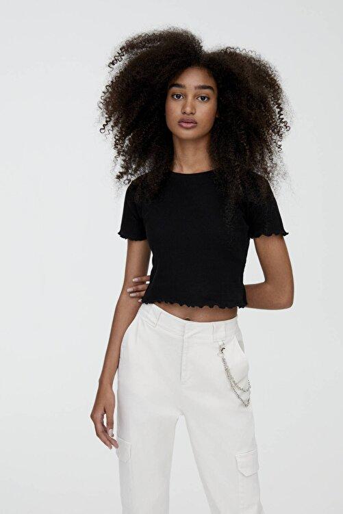 Pull & Bear Kıvrımlı Kenarlı Basic T-Shirt 2