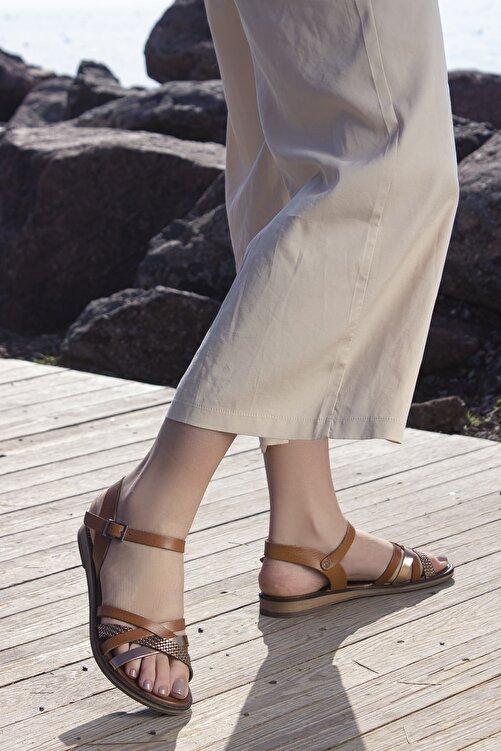 Rome Slippers Hakiki Deri Kadın Sandalet Taba Zincirli Rt-2158 1
