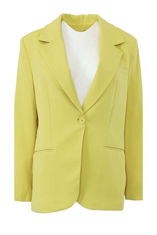 The Ness Collection Sarı Tek Düğmeli Boyfriend Blazer Ceket 2