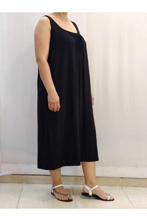 Mertcan Butik Önü Arkası Büzgülü Askılı Siyah Elbise 2