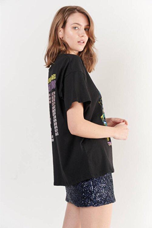 Zechka Siyah Ön Arka Ad Dc Baskılı Oversize Tişört (ZCK0253) 2