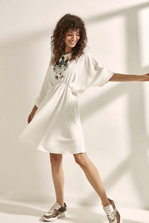 Say Kadın Taba Yarasa Kol Önü  Aplikeli Elbise 2