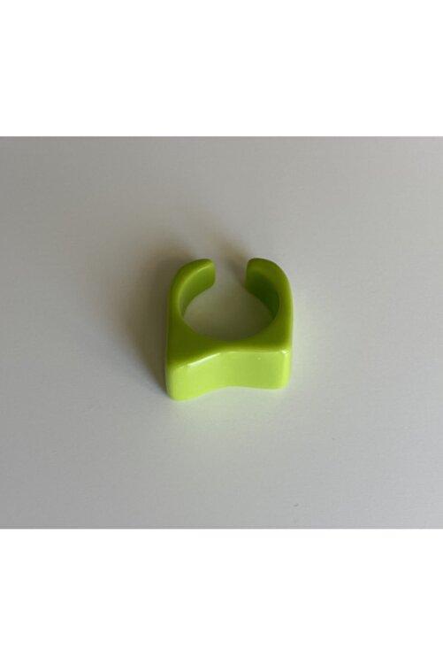 lesseffortless Yeşil Asimetrik Akrilik Yüzük 1