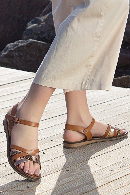 Rome Slippers Hakiki Deri Kadın Sandalet Taba Zincirli Rt-2158 2