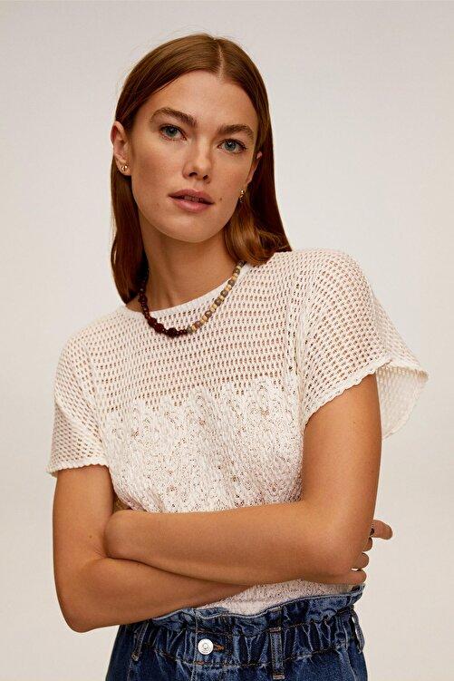 Mango Kadın Ekrü T-Shirt 67007721 2