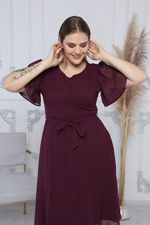 apsen Kadın Mor Büyük Beden Bağlama Detaylı Şifon Elbise 4257/110 2