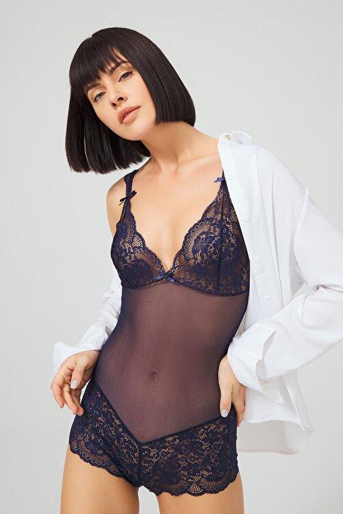 Cottonhill Kadın Lacivert Çıtçıtlı Dantelli Transparan Fantezi Bodysuit 1