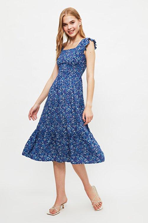 TRENDYOLMİLLA Lacivert Çiçek Desenli Elbise TWOSS20EL3331 1