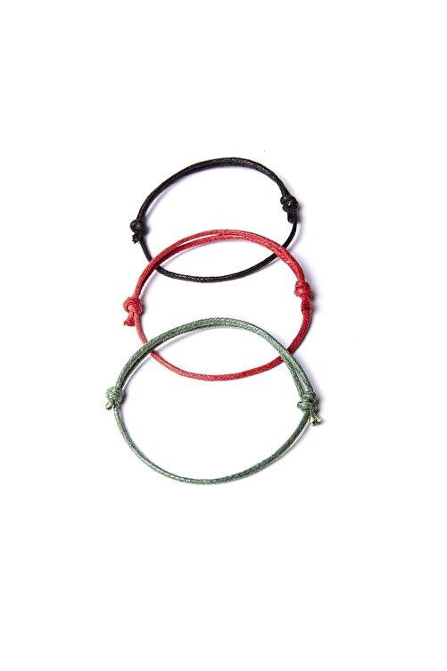 Chill & Feel Kalın Ip - Siyah, Kırmızı, Yeşil 3lü Ayarlanabilir Bileklik 2