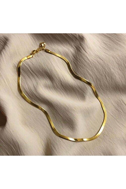 JADENNE OFFİCİAL Italyan Yassı Ezme Zincir Vintage Gold Kısa Kombin Kolyesi Altın Kaplama Garanti Belgeli 2